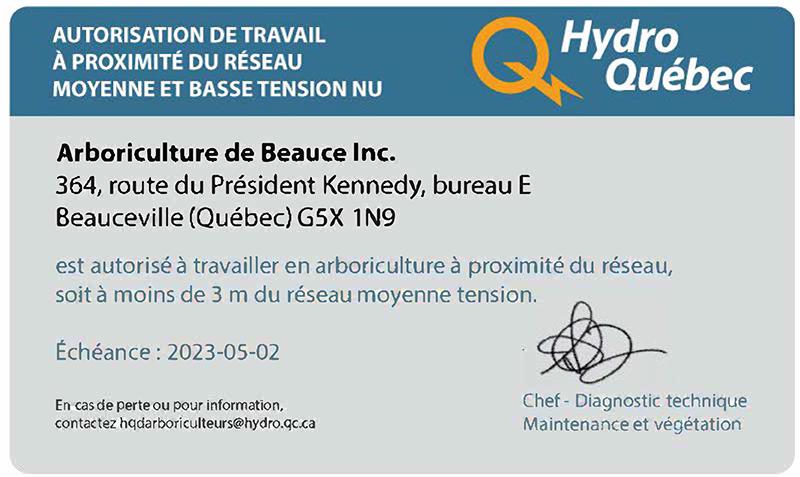 Autorisation émise par Hydro Québec pour travaux d'arboriculture à proximité des ligne de moyenne et basse tension